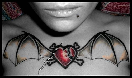 Bat Heart Tattoo Broken Heart With Bat Wings on