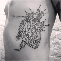 Awesome black scheme heart tattoo on ribs by Madame Chan