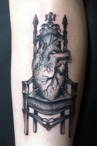Black and gray heart on a throne tattoo by Michael Bennett