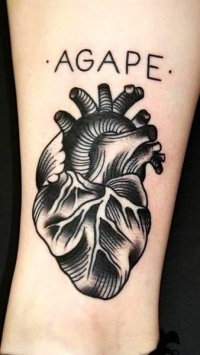 Black and gray heart tattoo