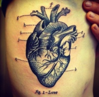 Cool idea of heart tattoo on ribs for men